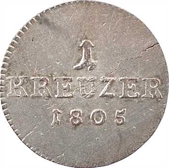 Allemagne, Saxe-Cobourg-Saalfeld (duché de), François, 1 kreuzer, 1805 Saalfeld