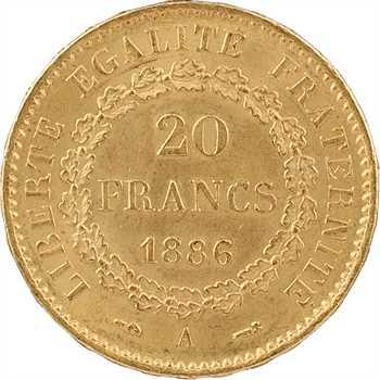 IIIe République, 20 francs Génie, 1886 Paris