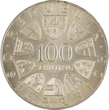 Autriche, 100 shilling, bicentenaire du Théâtre, 1976 Vienne