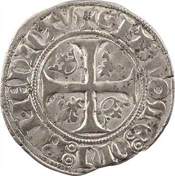 Charles VI, blanc guénar 2e émission, Troyes (S normales)