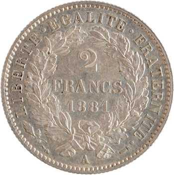 IIIe République, 2 francs Cérès, 1881 Paris