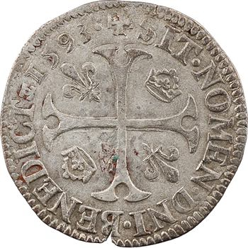 Henri IV, douzain aux 2 H, 2e type, 1593 Châlons-en-Champagne