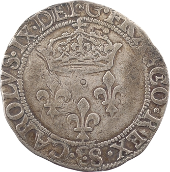 Charles IX, double sol parisis, 1571 Troyes
