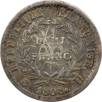 Premier Empire, demi-franc République, buste fort, 1808 La Rochelle
