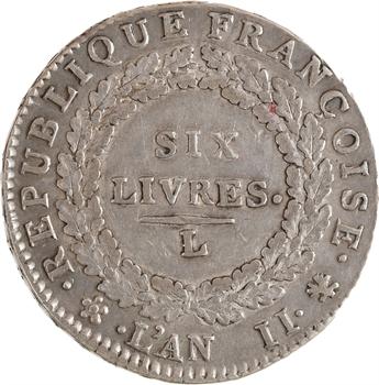 Convention, écu de six livres, 1793, 1er semestre, Bayonne