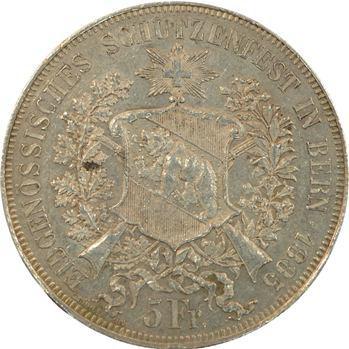 Suisse, Berne, 5 francs ou thaler de tir, 1885