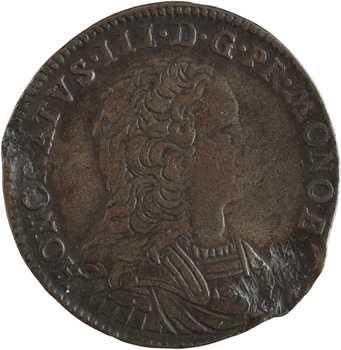 Monaco, Honoré III, Pezzetta ou pièce de 3 sols, 1735 Monaco