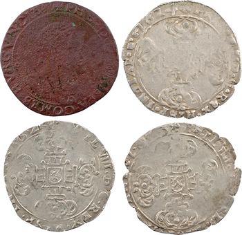 Bourgogne (comté de), Philippe IV, lot de 3 pièces de 1/16e de patagon, joint un jeton de la Chambre des comptes, 1623-1624 Dole