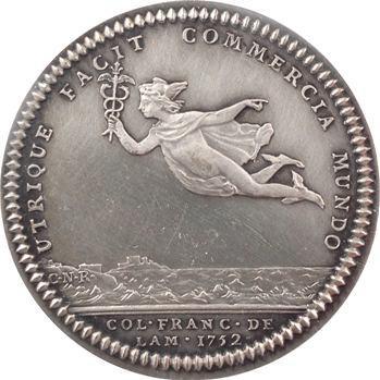 Amérique, Canada, Louis XV, jeton, Mercure volant entre les deux Mondes, 1752 (refrappe) Paris