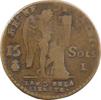 Constitution, 15 sols FRANCOIS, faux d'époque, An 3, 1791 Limoges