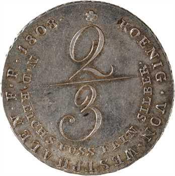 Allemagne, Westphalie (royaume de), Jérôme Napoléon, 2/3 de thaler, 1808 Clausthal