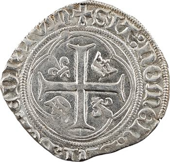 Charles VIII, blanc à la couronne (molettes/points), cantonnement inversé, Châlons-en-Champagne