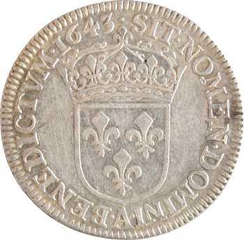 Louis XIII, quart d'écu d'argent, 3e type (2e poinçon), 1643 Paris (point)