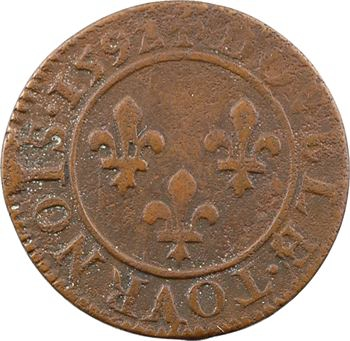 Henri IV, double tournois 2e type (NAVA), 1592 Châlons-en-Champagne