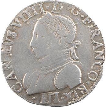 Henri III (au nom de Charles IX), teston 11e type, 1575 La Rochelle