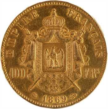 Second Empire, 100 francs tête laurée, 1869 Strasbourg, PCGS AU53