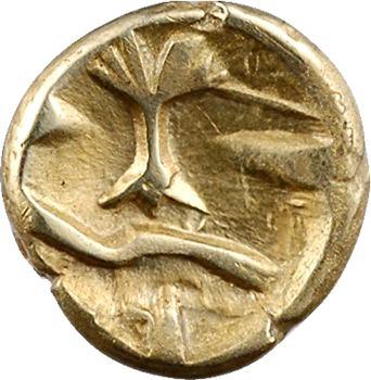Morins-Atrébates, quart de statère à l'arbre et à la ligne brisée, av.60 av. J.-C