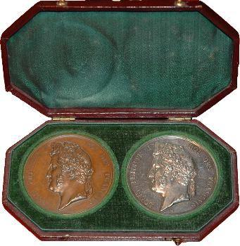 Louis-Philippe Ier, Coffret de deux médailles Archives de Paris, 1838 Paris