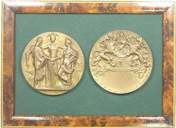 Belgique, Cadre avec deux clichés, Exposition internationale de Bruxelles, 1897