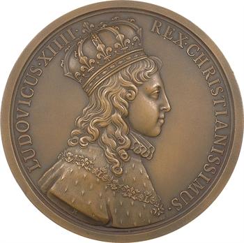 Louis XIV, sacre à Reims le 7 juin 1654, par J. Roëttiers et Molart, 1654, refrappe moderne, bronze, Paris