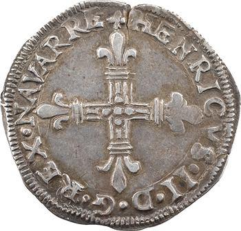 Navarre (royaume de), Henri III (II de Béarn), quart d'écu, 1584 Saint-Palais
