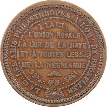 Belgique, Orient de Bruxelles, les Amis philanthropes, médaille maçonnique, 5861 (1861)