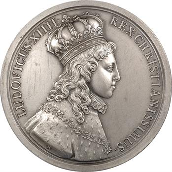Louis XIV, sacre à Reims le 7 juin 1654, par J. Roëttiers et Molart, 1654, refrappe 1972, argent, Paris