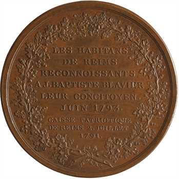 Convention, hommage de la ville de Reims à Jean-Baptiste Blavier, par Duvivier, 1793 Paris