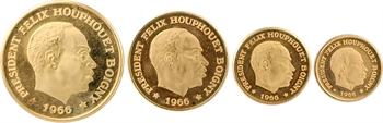 Côte d'Ivoire, Félix Houphouët-Boigny, coffret de 4 monnaies en OR de 10 à 100 francs, 1966