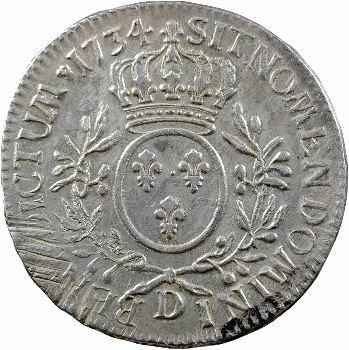 Louis XV, écu aux rameaux d'olivier, 1734 Lyon
