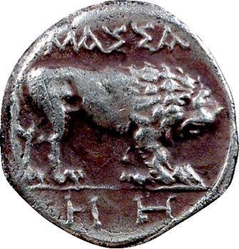 Marseille, tétrobole au lion passant, HH, imitations, c.130-121 av. J.-C.