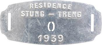Indochine, Cambodge, Stung-Treng (Résidence de), plaque de taxe n° 0, 1939