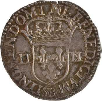Charles X, quart d'écu croix de face, 1591 Rouen