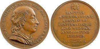 Premier Empire, Joseph Ignace Guillotin, lot de 2 jetons, Académie de médecine, 1807-1809 Paris