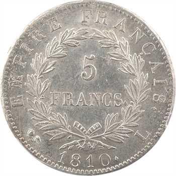 Premier Empire, 5 francs Empire, 1810 Bayonne (rose – L), PCGS AU58