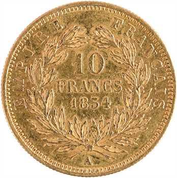 Second Empire, 10 francs tête nue, petit module, 1854 Paris, tranche striée