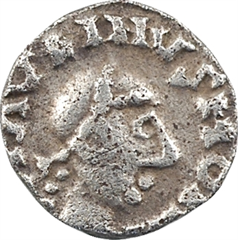 Neustrie, Orléans, denier (DINA/RIIO) du monétaire Maurinus, c.650-680