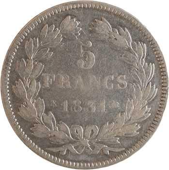 Louis-Philippe Ier, 5 francs Tiolier avec le I hybride, tranche en creux, 1831 Bordeaux