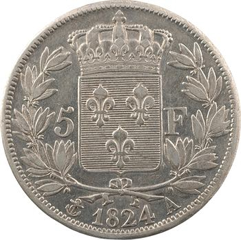 Louis XVIII, 5 francs buste nu, 1824 Paris