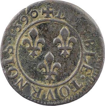 Henri IV, double tournois 1er type, 1590 Châlons-en-Champagne