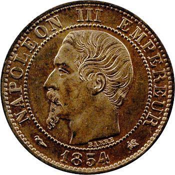 Second Empire, cinq centimes tête nue, 1854 Bordeaux