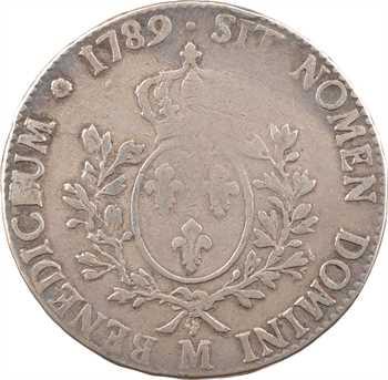 Louis XVI, écu aux branches d'olivier, 1789 Toulouse