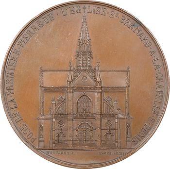 Second Empire, pose de la première pierre de l'église Saint-Bernard à La Chapelle-Saint-Denis, par Montagny, 1858 Paris