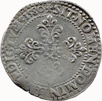 Henri III, franc au col plat, 1580 Paris