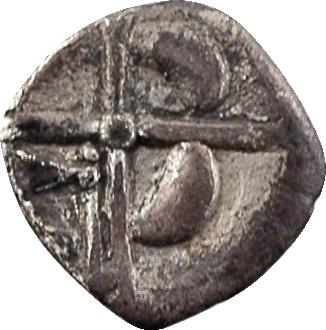 Volques Tectosages, obole à la croix (croissants 1-2-4), IIe-Ier s. av. J.-C.