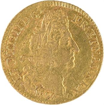 Louis XIV, louis d'or aux quatre L, 1697 Paris