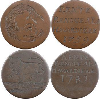 Bretagne, lot de 4 jetons de rente rendue à la Havardière, 1745-1782