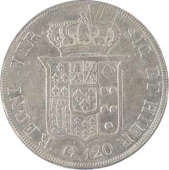 Italie, Deux-Siciles (royaume des), Ferdinand II, piastre de 120 Grana, 1835