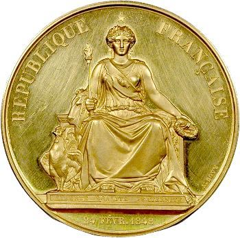 IIe République, médaille or par Bovy, manufacture Deneirouse et Boisglavy