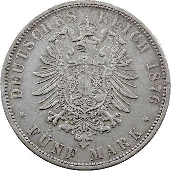 Allemagne, Wurtemberg (royaume de), Charles, 5 mark, 1876 Stuttgart